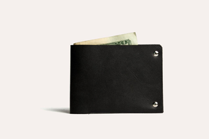 Kiko Leather - Black Unstitched Leather Billfold Wallet