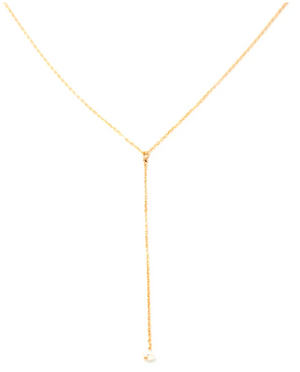 May Martin - Dainty Pearl Lariat Necklace