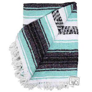 West Path - Mint and Grey Mexican Falsa Yoga Blanket