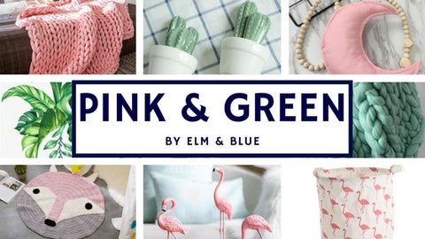 pink and green mood board
