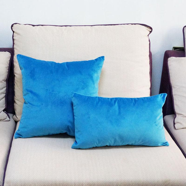 velvet cushion elm and blue style life home nordic design decor