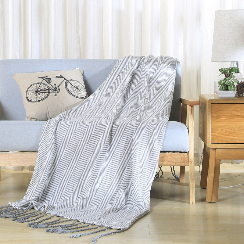 Grey Zig-Zag Throw, Throw, Nordic Home Accessories, Elm & Blue, Style Life Home