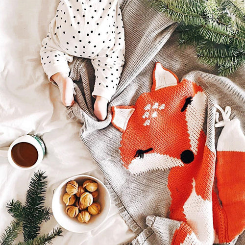 Fox Blanket, Throw, Nordic Home Accessories, Elm & Blue, Style Life Home