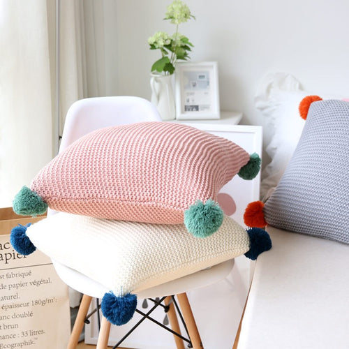 Crochet Pom Pom Cushion Cover, Cushion, Nordic Home Accessories, Elm & Blue, Style Life Home