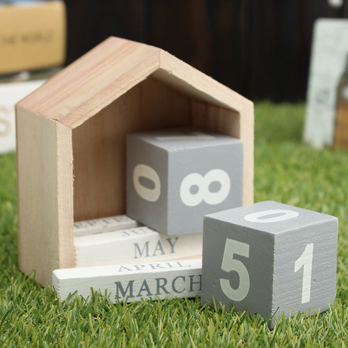 House Shape Wooden Calendar, Ornament, Nordic Home Accessories, Elm & Blue, Style Life Home