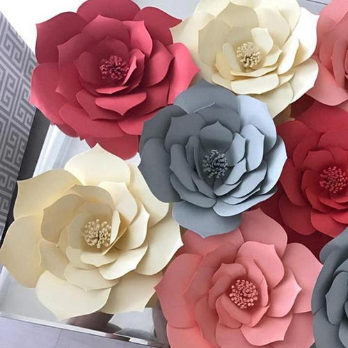 DIY Paper Wall Flowers, Wall Sticker, Nordic Home Accessories, Elm & Blue, Style Life Home