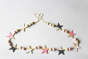 Stars Garland Wood, Garland, Nordic Home Accessories, Elm & Blue, Style Life Home