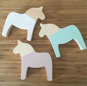 Wooden Pony Ornaments, Toy, Nordic Home Accessories, Elm & Blue, Style Life Home