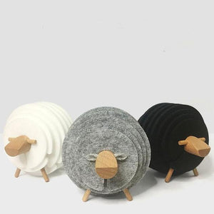 Sheep Anti Slip Coasters, Ornament, Nordic Home Accessories, Elm & Blue, Style Life Home