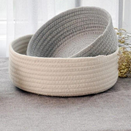 Round Boat Cotton Basket, Storage, Nordic Home Accessories, Elm & Blue, Style Life Home