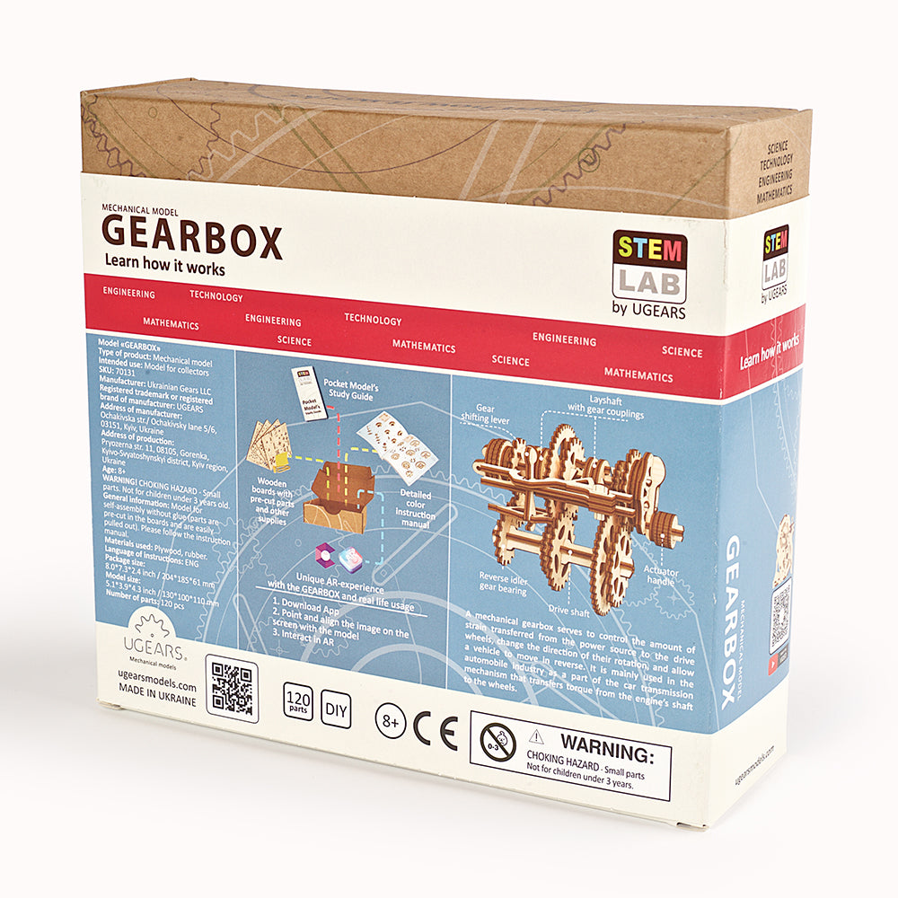 «Gearbox» educational mechanical model kit