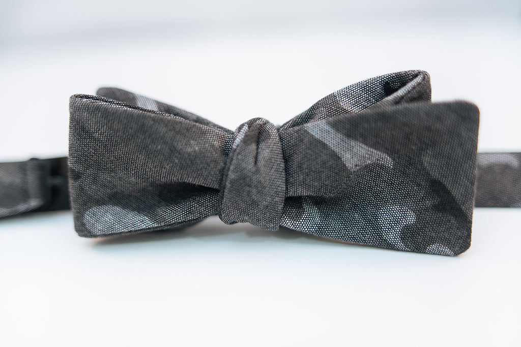 "A black & grey Camouflage Cotton Bow Tie.  Height: 3"" x Width: 4.5"