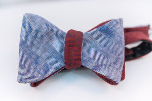 Red & Blue Reversible Linen Herringbone Bow Tie Butterfly