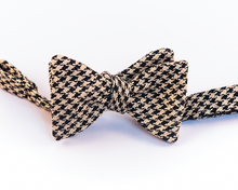 Black & Beige Houndstooth Silk Bow Tie-Butterfly