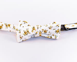 Yellow Floral Cotton Bow Tie-Batwing