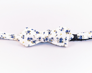 Blue Floral Cotton Bow Tie-Slim Diamond Tip