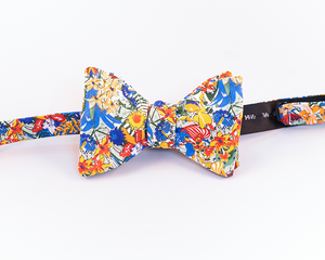 Floral Cotton Voile Bow Tie With Hues of Blue, Red, & Orange Print-Butterfly