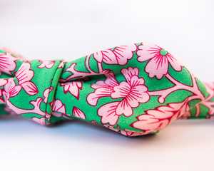 Green Cotton Bow Tie With Pink Floral- Slim Diamond Tip Bow Tie