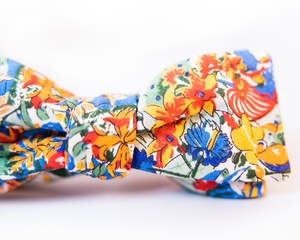 Floral Cotton Voile Bow Tie With Hues of Blue, Red, & Orange Print-Batwing