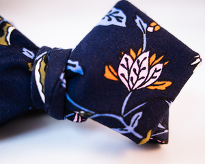 Dark Blue With Pink And Green Floral Cotton Sateen Bow Tie-Diamond Tip