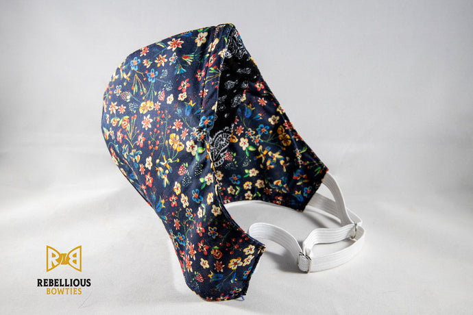 Face Mask: Navy Floral Cotton