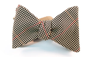 "A two-toned windowpane check bow tie with colors of black, red, and beige in this lightweight twill bow tie.   Height: 3"" x Width: 4.25"" x Knot Size: .75  (Approx.)  Dry Clean Only"