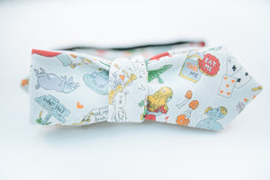 Alice In Wonderland Cotton Bow Tie Slim Diamond Tip