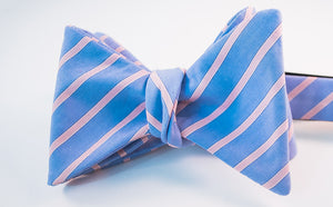 Light Blue & Pink Striped Cotton Bow Tie Butterfly