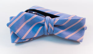 Light Blue & Pink Striped Cotton Bow Tie Sim Diamond Tip