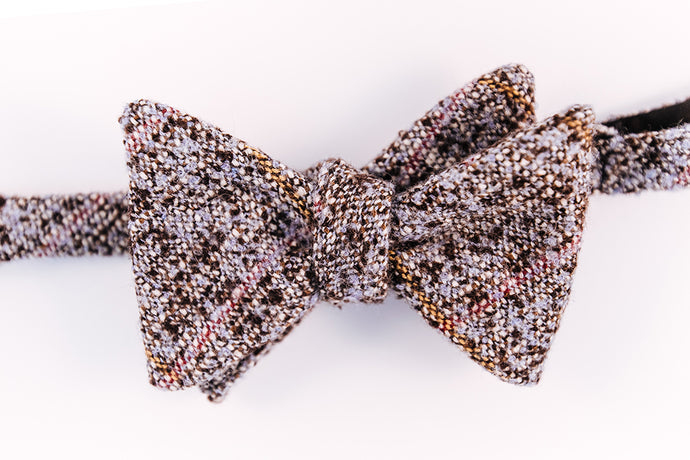 Baby Blue, Pink & Beige Wool Plaid Bow Tie