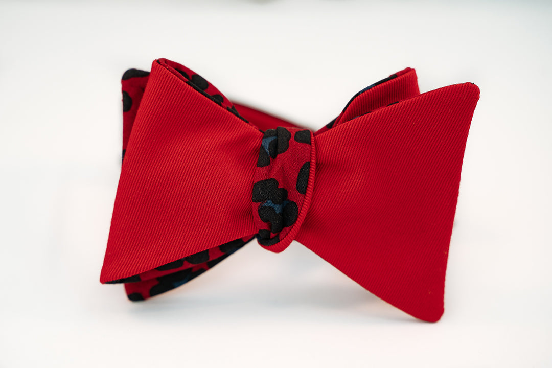 Reversible Red & Black Leopard Print With Solid Red Twill Bow Tie