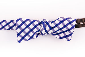 An Italian Cotton Blue & White Gingham Bow Tie With A Batwing Design.