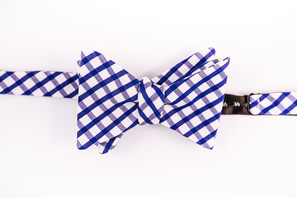 An Italian Cotton Blue & White Gingham Bow Tie With A Butterfly Design.