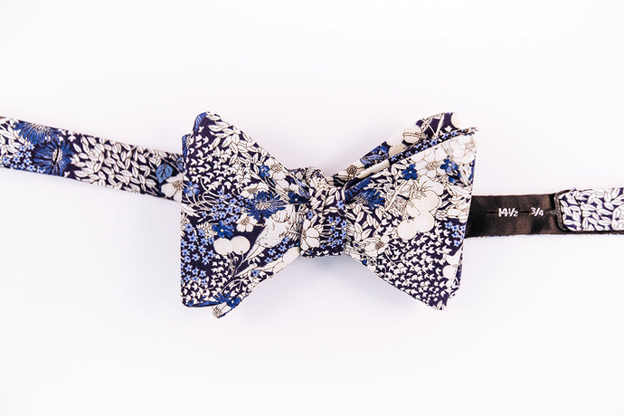 Blue & Teal Floral Pattern On A  Japanese Cotton Bow Tie With A Butterfly Design For The Man With Courage And Boldness.