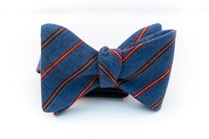 Blue Denim Linen Stripe Bow Tie Butterfly