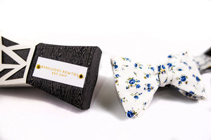 Blue Floral Cotton Bow Tie-Butterfly