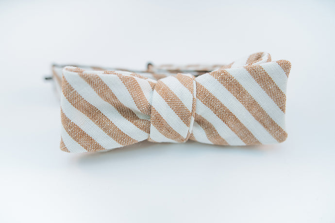 Brown & White Stripe Linen Bow Tie Batwing