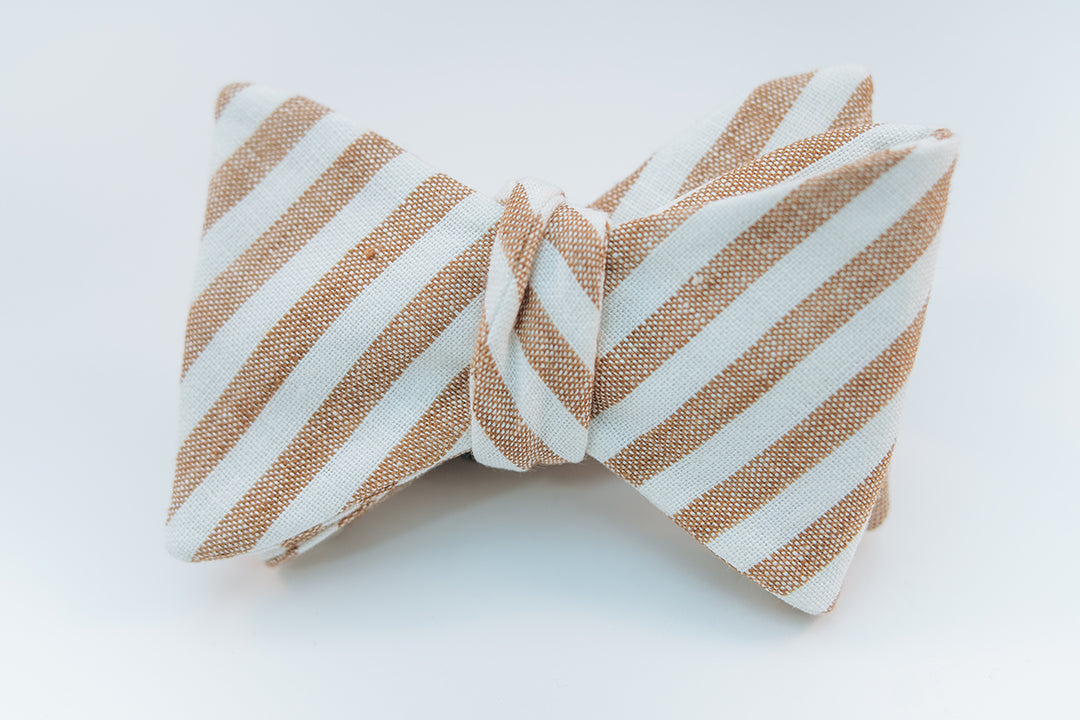 Brown & White Stripe Linen Bow Tie Butterfly