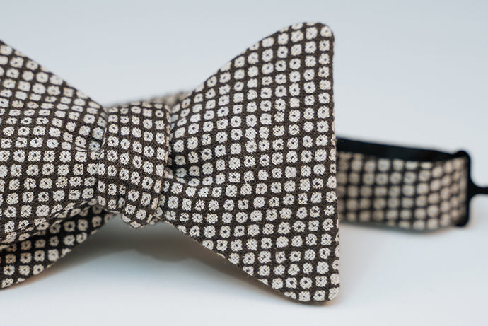 Charcoal & White Abstract Polka Dotted Print Bow Tie Butterfly