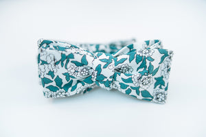 Green Floral Cotton Print Bow Tie Batwing