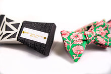 Green Cotton Bow Tie With Pink Floral Pattern-Butterfly