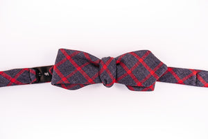 Indigo & Red Cotton Window Pane Bow Tie With A Butterfly Design.