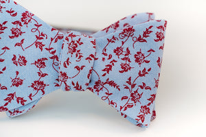 Red Wine Floral Cotton Bow Tie