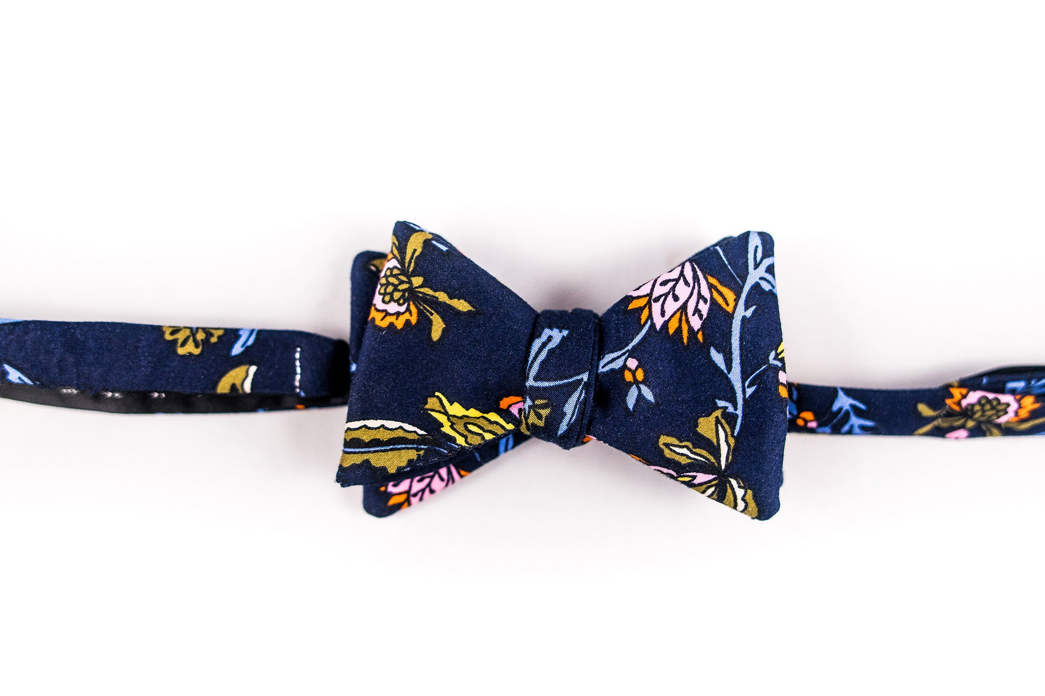 Dark Blue With Pink And Green Floral Cotton Sateen Bow Tie-Butterfly