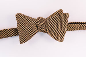 Olive Houndstooth Cotton Bow Tie With A Butterfly Design.