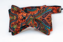 Paisley Print In Orange Bow Tie Butterfly