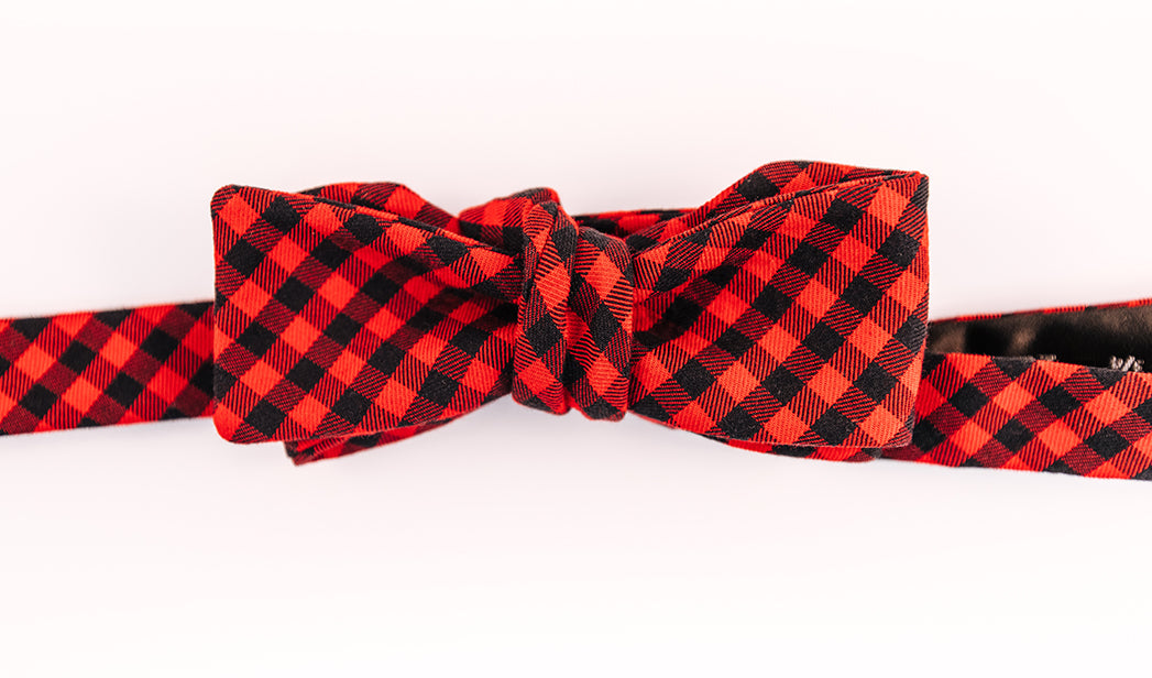 Red & Black Cotton Shepard's Check Bow Tie With A Batwing Design.
