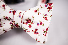 Red Floral Cotton Bow Tie-Butterfly