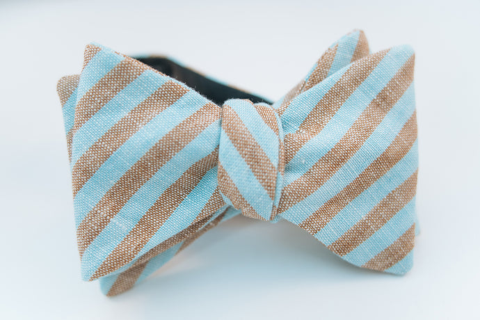 Brown & Turquoise Stripe Linen Bow Tie Butterfly