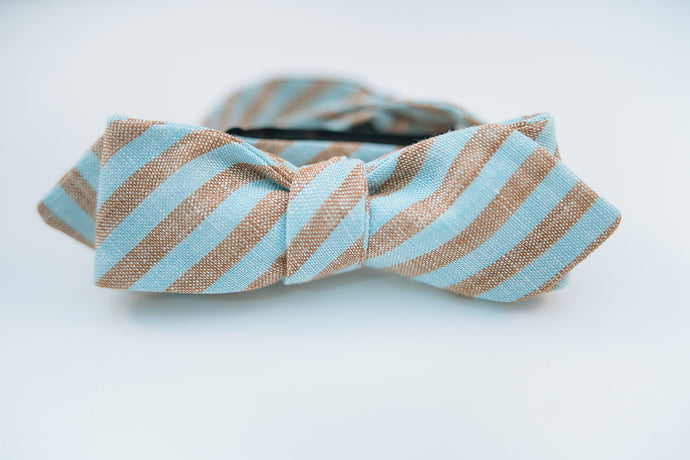 Brown & Turquoise Stripe Linen Bow Tie Slim Diamond Tip